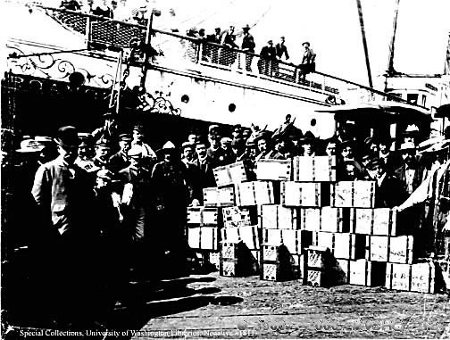 Gold shipment on a Seattle dock prior to its delivery to the assay office, n.d. (Klondike Gold Rush, circa 1898, Special Collections, University of Washington Libraries, Negative #1811.)