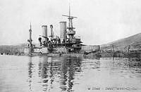 The Russian pre-dreadnought battleship Poltava sunk at Port Arthur as a result of bombardment by Japanese land based artillery d